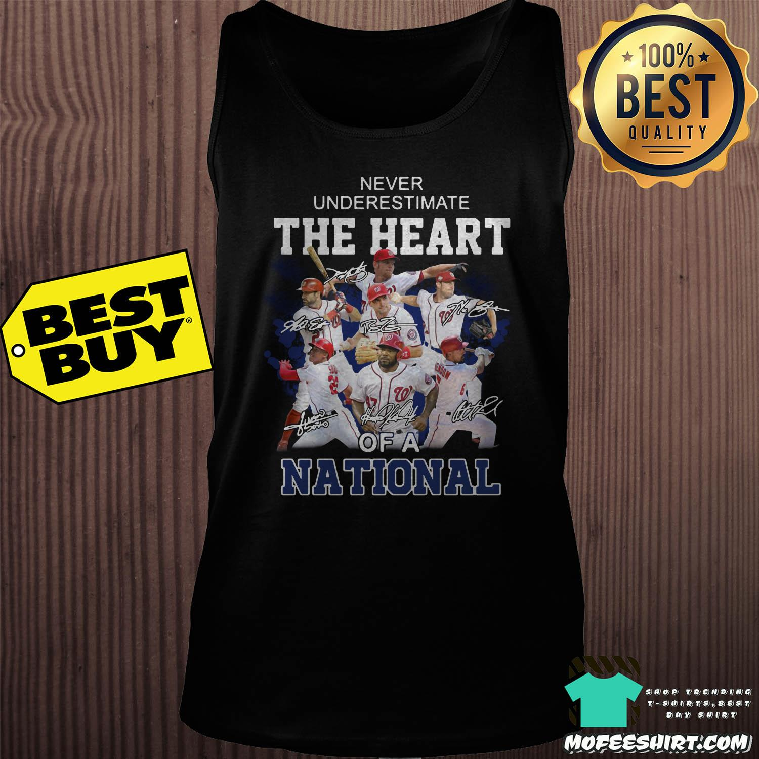 washington nationals never underestimate the heart of a national signatures tank top - Washington Nationals Never Underestimate The Heart of a National signatures shirt