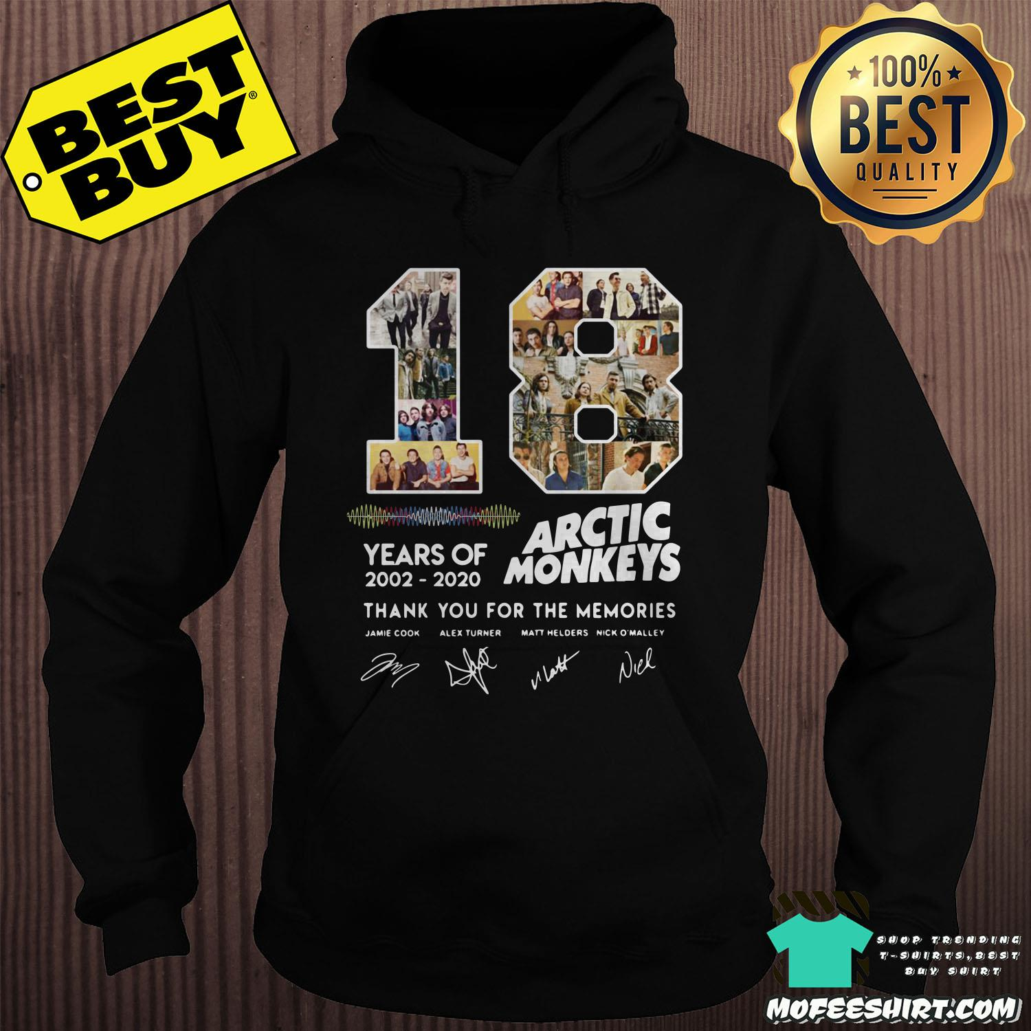 18 years of 2002 2020 arctic monkeys thank you for the memories signature hoodie - 18 Years Of 2002 - 2020 Arctic Monkeys Thank You For The Memories Signature Shirt