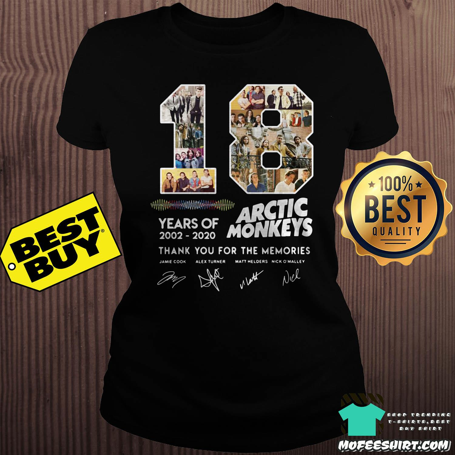 18 years of 2002 2020 arctic monkeys thank you for the memories signature ladies tee - 18 Years Of 2002 - 2020 Arctic Monkeys Thank You For The Memories Signature Shirt