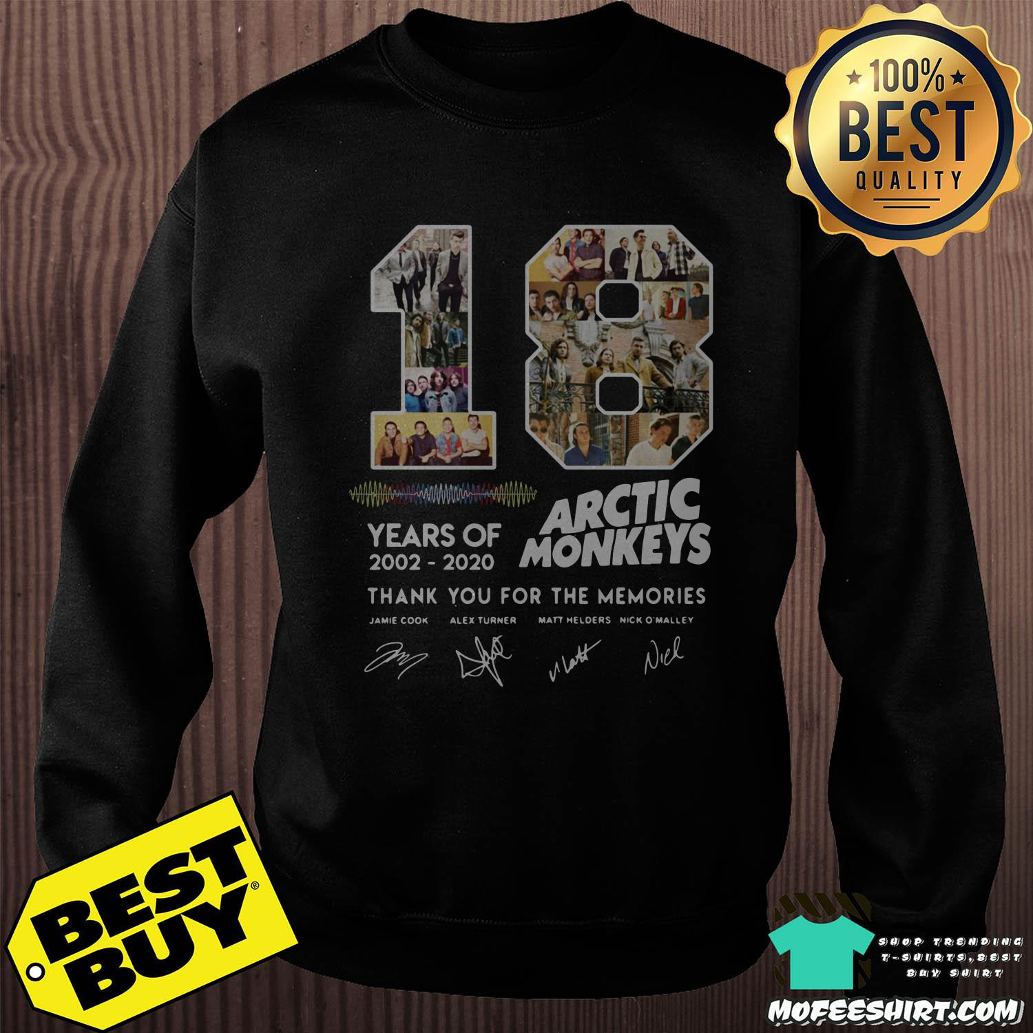 18 years of 2002 2020 arctic monkeys thank you for the memories signature sweatshirt - 18 Years Of 2002 - 2020 Arctic Monkeys Thank You For The Memories Signature Shirt