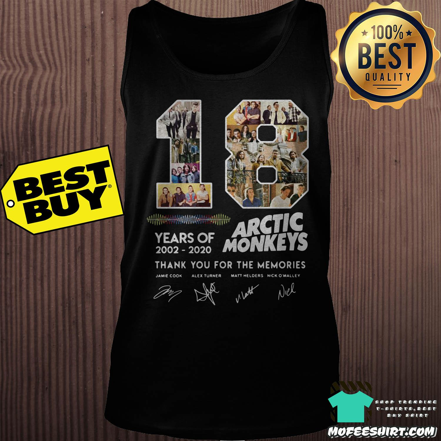 18 years of 2002 2020 arctic monkeys thank you for the memories signature tank top - 18 Years Of 2002 - 2020 Arctic Monkeys Thank You For The Memories Signature Shirt