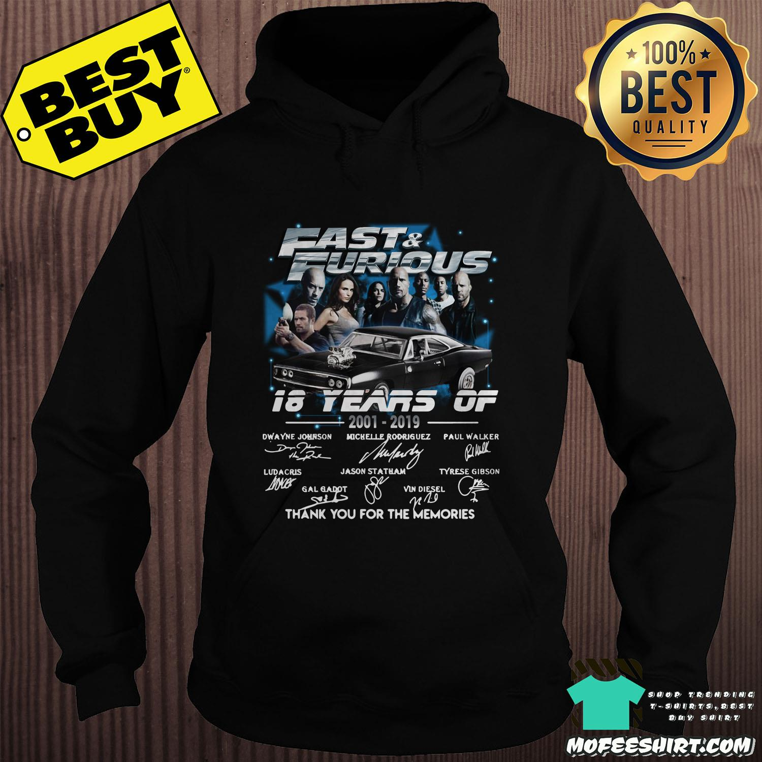 fast and furious 18 years of 2001 2019 thank you for the memories signature hoodie sweater - Fast And Furious 18 Years Of 2001-2019 Thank You For The Memories Signature Shirt Sweater