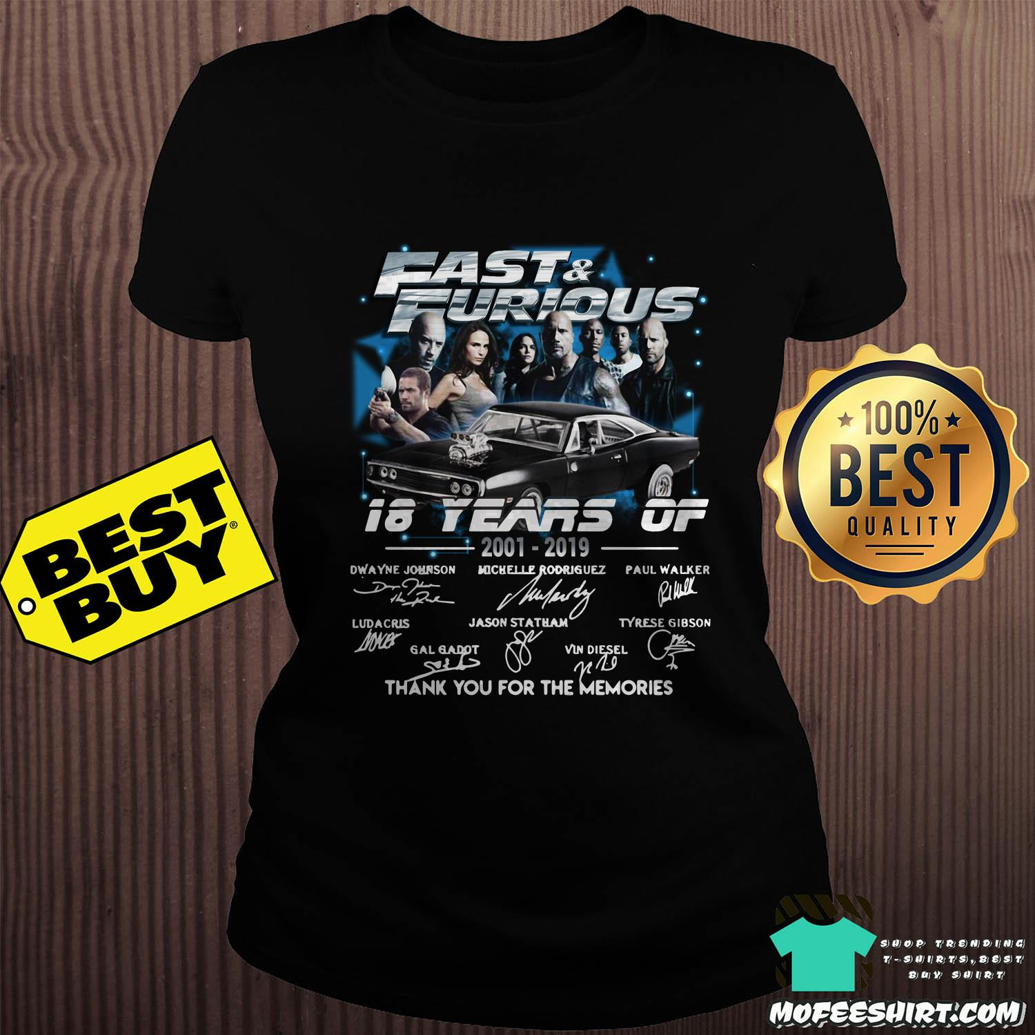 fast and furious 18 years of 2001 2019 thank you for the memories signature ladies tee sweater - Fast And Furious 18 Years Of 2001-2019 Thank You For The Memories Signature Shirt Sweater