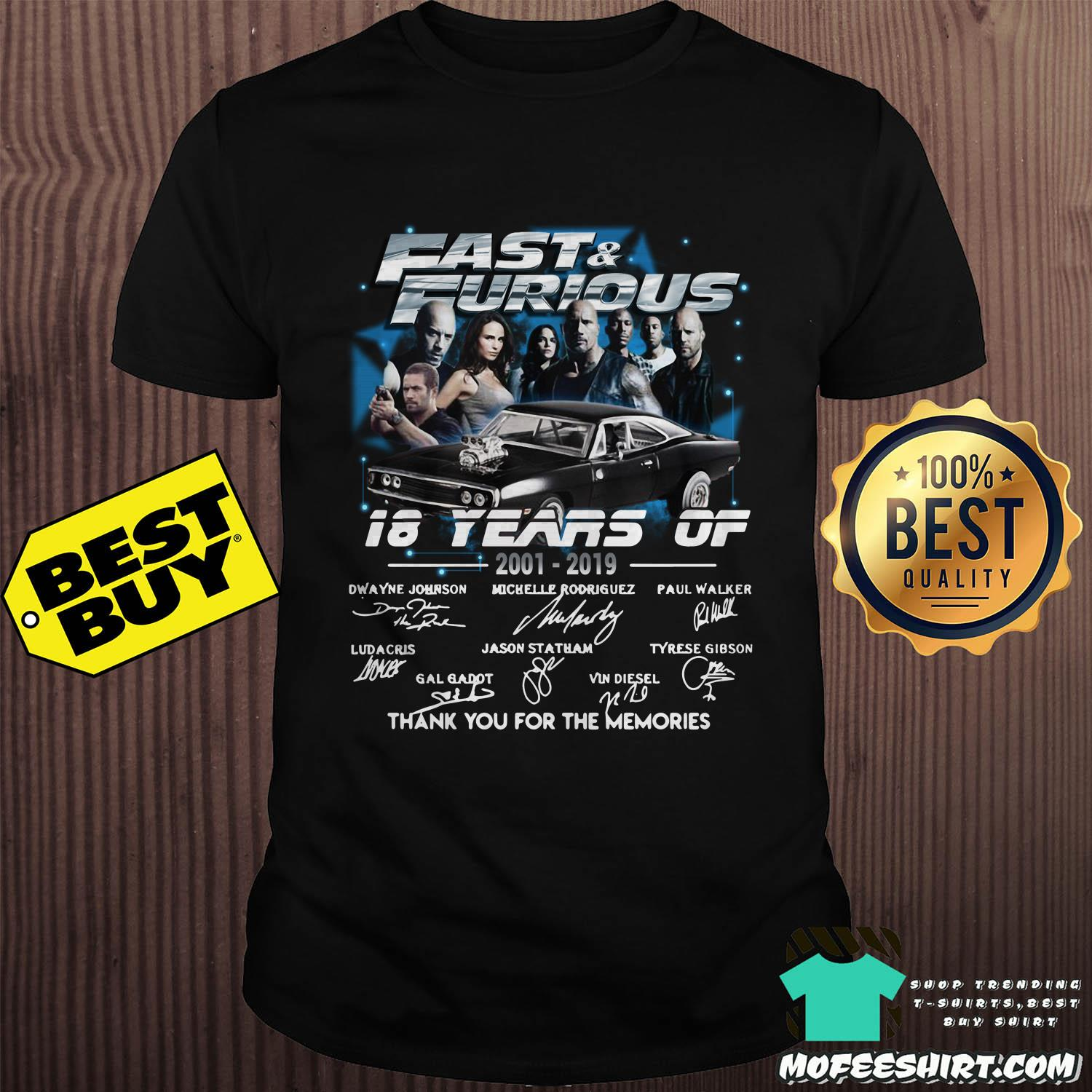 fast and furious 18 years of 2001 2019 thank you for the memories signature shirt sweater - Fast And Furious 18 Years Of 2001-2019 Thank You For The Memories Signature Shirt Sweater