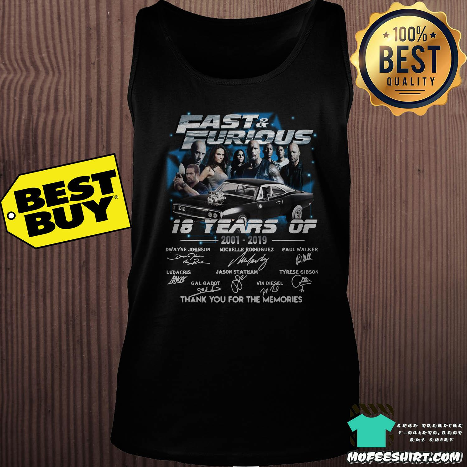fast and furious 18 years of 2001 2019 thank you for the memories signature tank top sweater - Fast And Furious 18 Years Of 2001-2019 Thank You For The Memories Signature Shirt Sweater