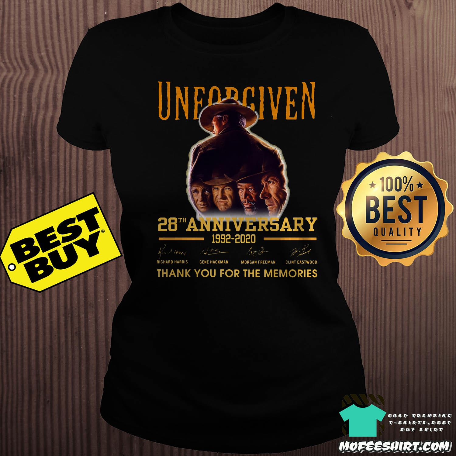 unforgiven 28th anniversary 1992 2020 signature thank you for the memories ladies tee - Unforgiven 28th Anniversary 1992-2020 Signature Thank You For The Memories Shirt