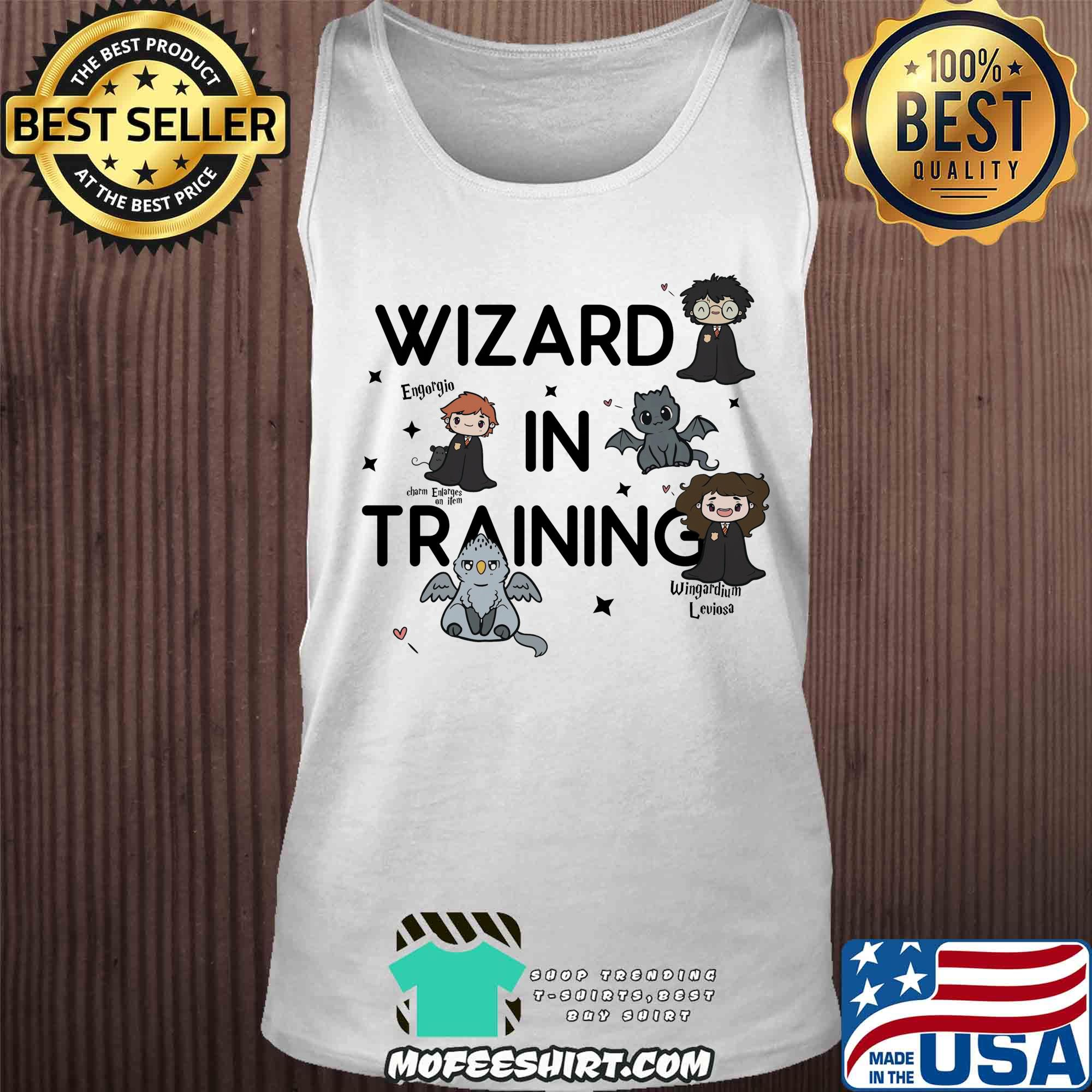 Harry Potter wizard in training engorgio charm enlanges on item wingardium leviosa shirt