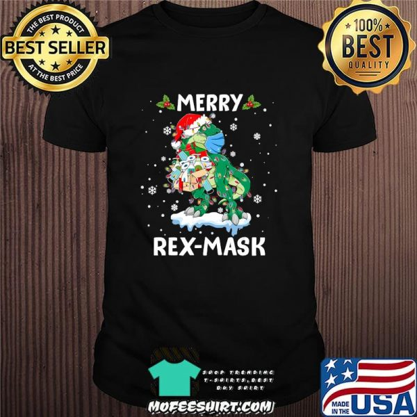 Dinosaur merry christmas rex-mask shirt