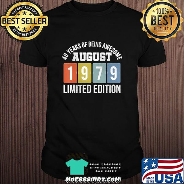Vintage August 1979 41 Years Old 41st Birthday T-Shirt