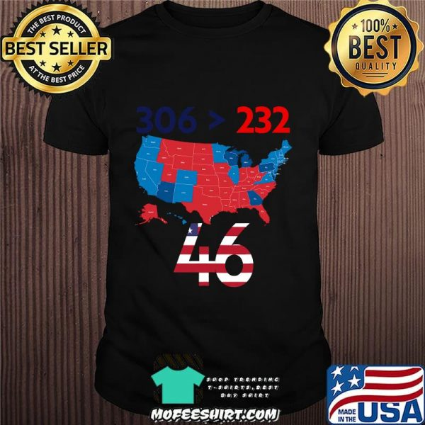 306  232 = 46 American Flag Maps Election Shirt