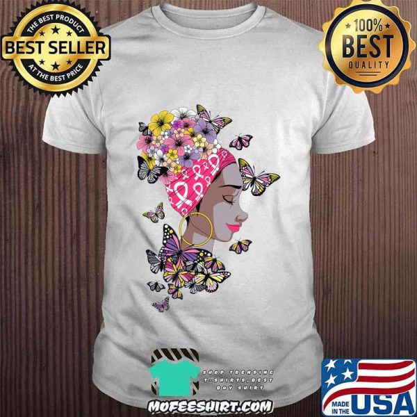 Breast Cancer Awareness Pink Ribbon Black Afro Women Butterflies And Flowers Shirt
