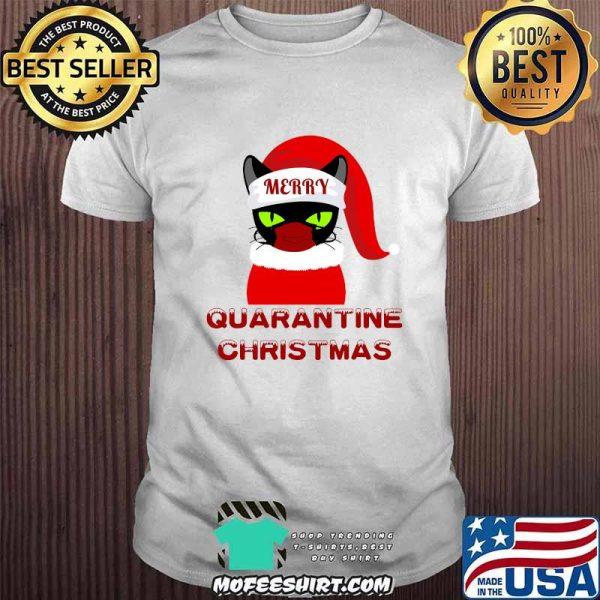 Merry Quarantine Christmas  Green Eyed Black Cat Wear Face Mask Shirt