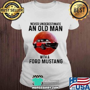 Never Underestimate An Old Man With A Ford Mustang THe Moon Shirt V-neck