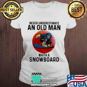 Never Underestimate An Old Man With A Snowboard THe Moon Shirt V-neck