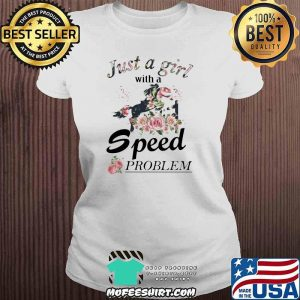 Show Jumping Just A Girl With A Speed Problem Horse Flower Shirt V-neck