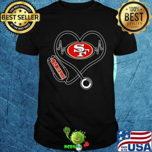 Nurse san francisco 49ers stethoscope heart shirt
